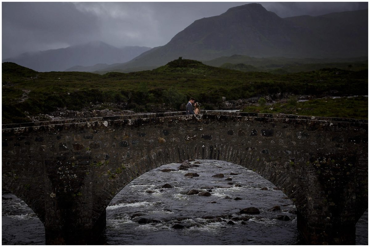 A bride and groom on Sligachan bridge